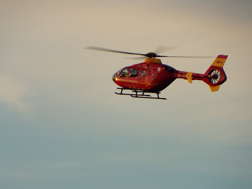 Air Ambulance. Flying over Cheadle Staffs